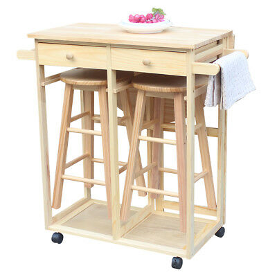 KITCHEN ROLLING ISLAND Cart Trolley Dining Table Storage 2 ...