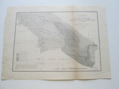 "2Nd 1855 U S Coast Survey Nautical Chart ""Land Between San Diego Colorado River"""