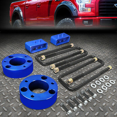 """For 2004-2017 Ford F150 4Wd Blue 3""""f Spacers+2""""r Blocks Raise Leveling Lift Kit"""