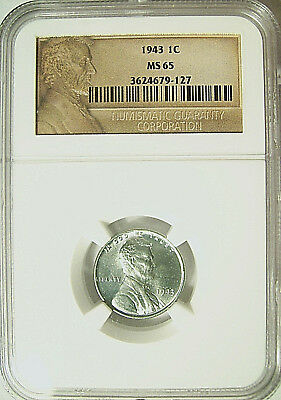 1943 LINCOLN STEEL WHEAT CENT 1c  NGC MS 65  Scarce Abraham Lincoln Label