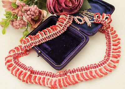 Vintage Inspired Micro Bead Glass Necklace - Bridal / Wedding / Ball / Party