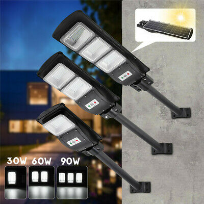 30W/60W/90W LED Solar Powered Wall Street Light PIR Motion Outdoor Garden Lamp