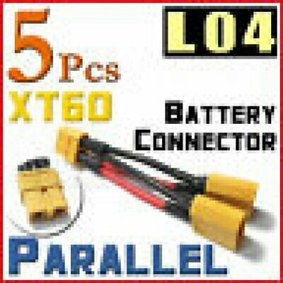 5 XT60 Plug Parallel Battery Pack Connector Adapter Cable Y Harness NiMH Lipo