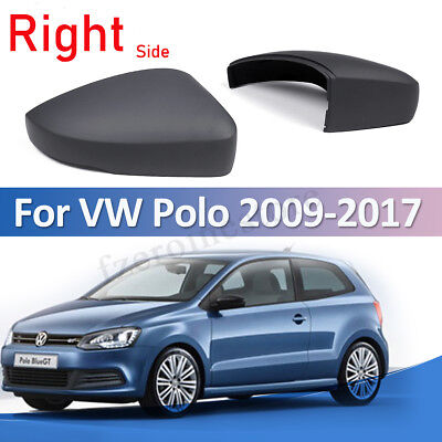 Right Driver Side OS Door Wing Mirror Cover Casing Black VW Polo 2002-2005