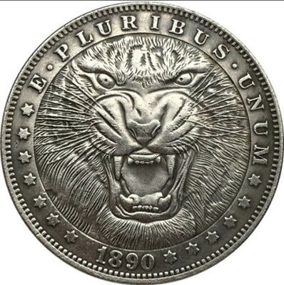 New Hobo Nickel 1890 Morgan Dollar Africa Lion Roar Savannah Casted Coin