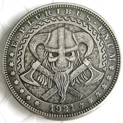 New Hobo Nickel 1921 Morgan Dollar Skull Viking Axes Skeleton Casted Coin