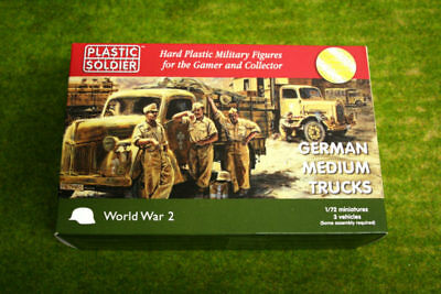 Plastic Soldier Company WW2 GERMAN MEDIUM TRUCKS 1/72nd scale 20mm