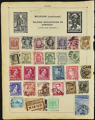 Belgium Double Sided Album Page Of Stamps #V8072