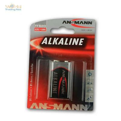 9V-Block Alcaline Battery, 6LR61 Block Battery Ansmann, E-Block 9 Volt 9 V