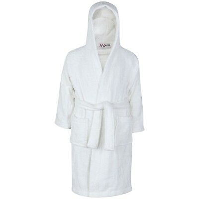 Kids Boys Girls Cotton Soft Terry Hooded Bathrobe Luxury Dressing Gown 2-13 Year