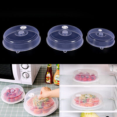 Clear Microwave Plate Cover Food Dish Lid Ventilated Steam Vent Kitchen YH YJ