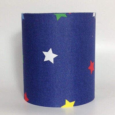 Navy Blue Medium Fabric Light Shade - Green Yellow Red Stars