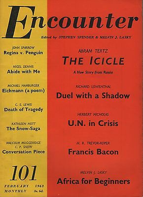 ENCOUNTER MAGAZINE (February 1962) ABRAM TERTZ-FRANCIS BACON-EICHMANN POEM-LEWIS