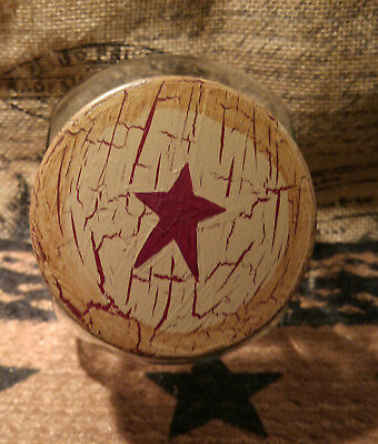 Primitive Country Crackle Tan with Burgundy Stars Glass Cookie Canister