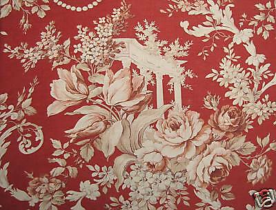 Red Rococo Fragonard Antique French fabric material red curtain panel floral