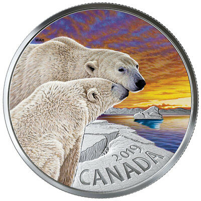 2019 Canada Canadian Fauna Polar Bear 1 oz Silver Colorized Proof $20 SKU56803