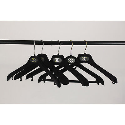 Authentic Chanel Black Velvet Set of 5 Standard Hangers with CC Logo