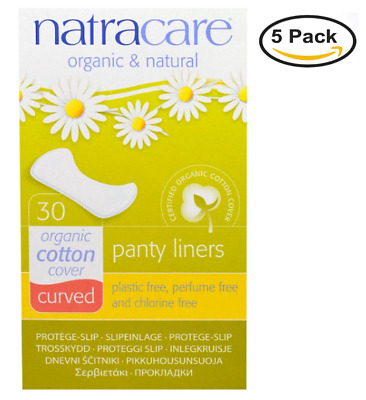 NEW 5PACK Natracare, Organic & Natural Panty Liners, Curved, ct30 Liners each