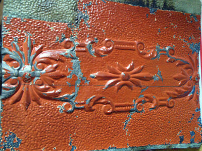 SALE  Antique Ceiling Tin Tile Shabby Chic Pumpkin Cabinet Door Primitive Canvas