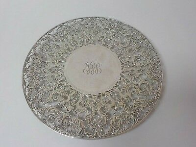 """Roger Williams Sterling Silver Reticulated 11"""" Cake, Dessert Plate, 525 grams"""
