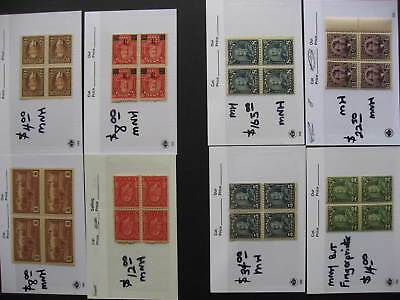 Canada 8 MH/MNH 1940s and back blocks of 4 in sales cards worth a look!
