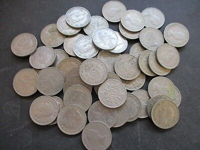 50 OLD TWO SHILLINGS, FLORINS & 10p COINS,BULK COLLECTION, GEORGE VI & QEII