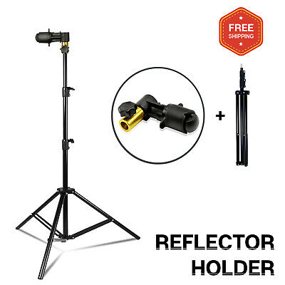 """Photography Photo Studio Reflector Holder Clip with 30"""" - 86.5"""" Stand"""