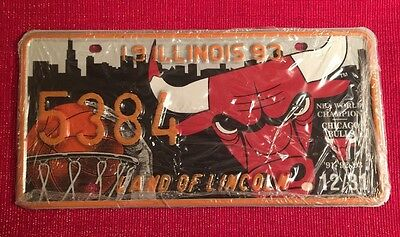 ILLINOIS 1993 LICENSE PLATE SET PAIR # 5384 NBA CHICAGO BULLS Sealed W/Paperwork