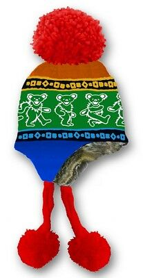 New Grateful Dead Knit Rainbow Dancing Bear Adult Laplander Hat Winter Fuzzy NWT