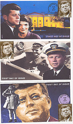 Jvc Cachets - 2017 John F. Kennedy Issue First Day Cover Fdc President Set Of 3
