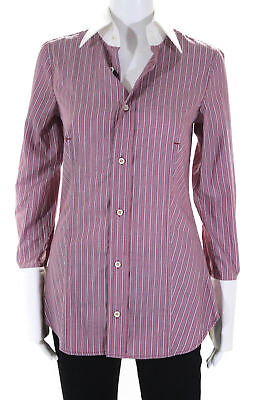27e29b9073eab Dsquared2 Womens Button Down Shirt Top Red White Black Striped Size IT 42