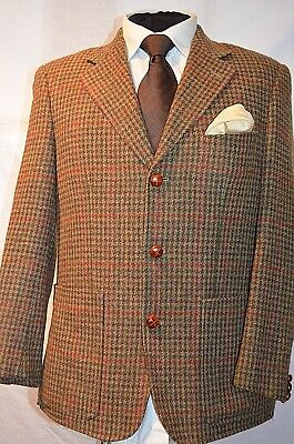 d1ce03182b0f MENS VINTAGE TWEED Herringbone Check Blazer Velvet Elbow Patch Brown ...