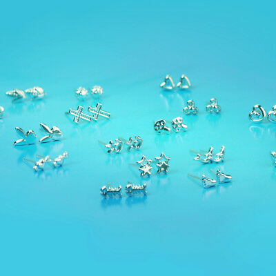 Wholesale Lot 18 pairs Different Shape Beautiful Silver Charm Earring Ear Studs