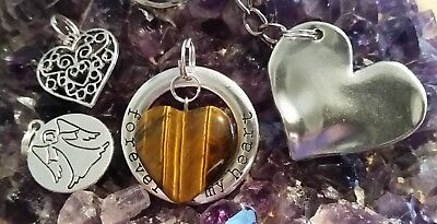 LOVE PACK - 4 x PIECES WITH SILVER PLATED CHARMS, HEARTS & TIGERS EYE