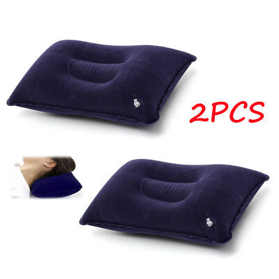 Air Inflatable Pillow Travel Camping Beach Cushion Rest Head Neck Support Blue