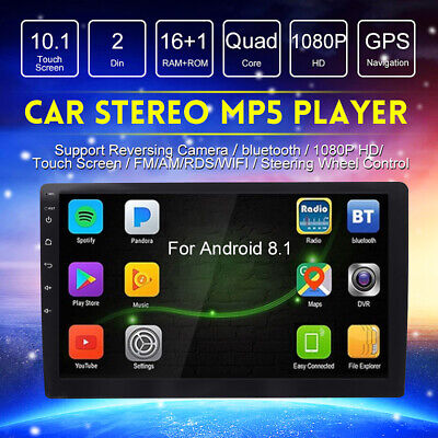 """10.1"""" 2 Din Android 8.1 Car Player Stereo bluetooth GPS WIFI Radio Touch Screen"""