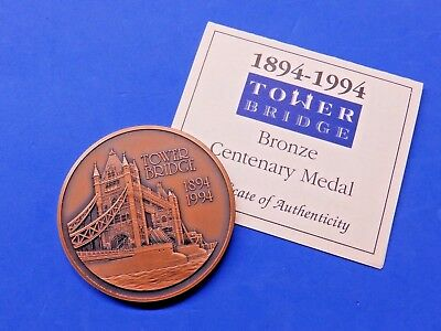 Tower Bridge Royal Mint Large Cased Bronze Centenary Medallion with CoA 1994