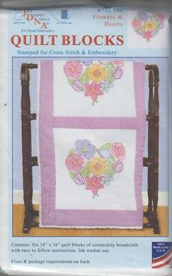 1 Pk Dempsey Flowers and Hearts Stamped Xstitch/Embroidery Quilt Blocks