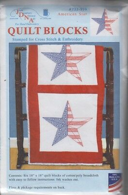 1 Pk Dempsey American Star Stamped Xstitch/Embroidery Quilt Blocks