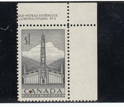 Canada # 321 Vf-Mnh $1 Totem Poles One With Part Inscrption