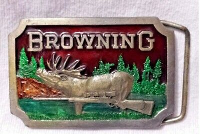 Browning Rifle Belt Buckle By INDIANA METAL CRAFT 1977 Nice Enamel Paint! XR66
