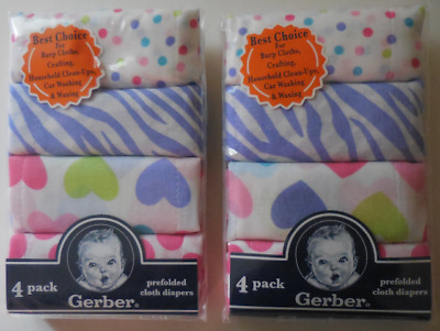 Gerber Prefolded Cloth Diapers 4 Pack Multicolor 100% Cotton Set of 2