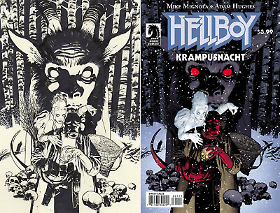Mike Mignola Hellboy Krampusnacht ONE SHOT Adam Hughes Cover + Sketch Variant