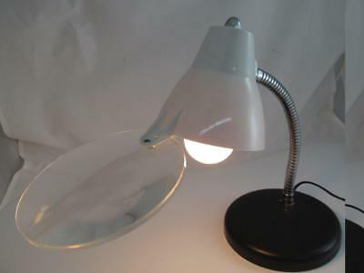 Used Magnifying Table Lamp Lighted Chrome Gooseneck Big Eye Model 010