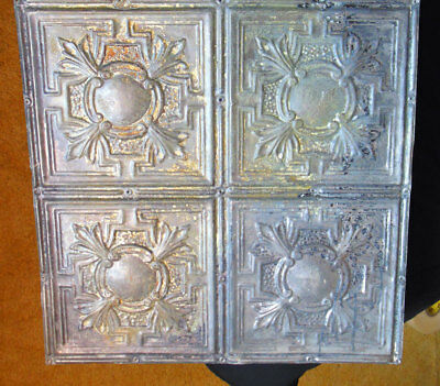 Antique Victorian Gothic Ceiling Tin Tile Cottage Chic Yellow Blue Trifoil Fleur