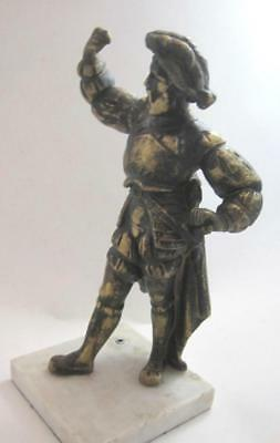 Antique Spelter Bronze Finish Explorer Conquistador Mounted on Marble Heavy 10""