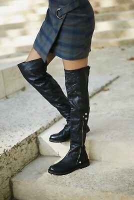 98531816b5e75 NEW Free People Braxton OTK Over The Knee Black Leather Boots Size 38   8