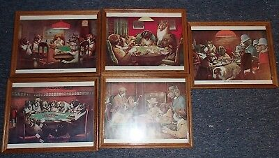"""Set of 5 Framed Dogs Playing Poker Paintings Art Prints 12"""" x 15"""" Coolidge"""