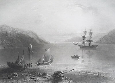 CANADA Schooner in Bay of Annapolis - 1840s Engraving Print by BARTLETT