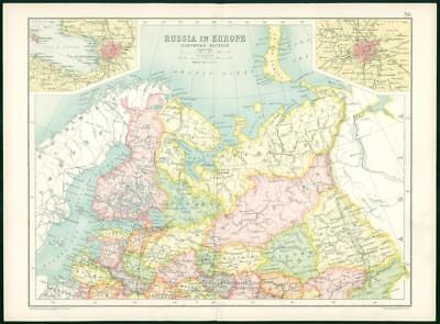 1912 Original Colour Antique Map  -  RUSSIA EUROPE NORTHERN SECTION     (33)